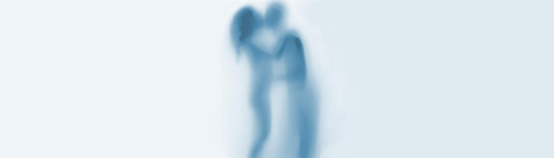 an obscured photo of a couple kissing, as if through a misted shower screen